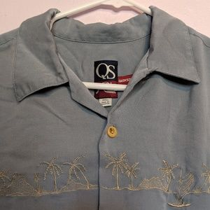Vintage 90s Quicksilver Embroidered Hawaiian Shirt